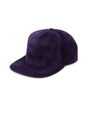GENTS Chairman Velvet Baseball Cap in Purple