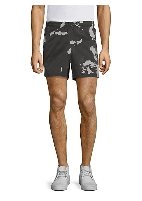 "Image of Cartographic shorts crafted in a modern camo design. Elasticized waist. Mock fly. Concealed side zip slash pockets. Rise, about 10"".Inseam, about 6"".Leg circumference, about 20"".Polyester. Machine wash. Imported."