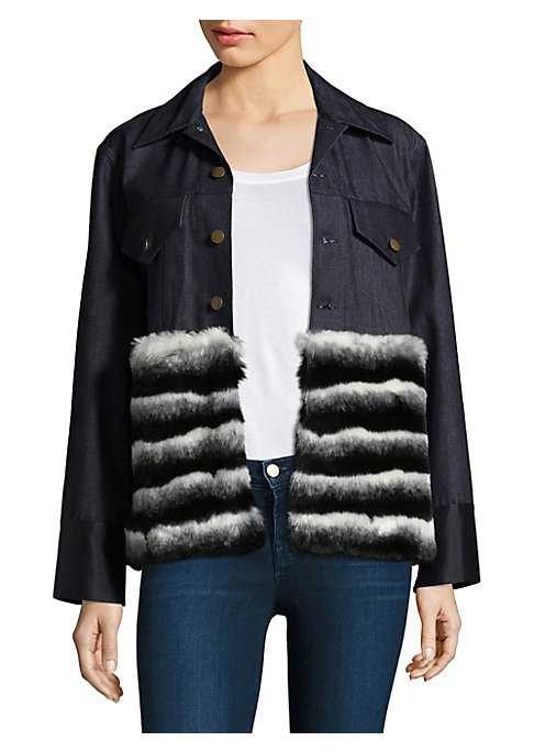 "Image of .Cotton-blend button-front jacket with faux fur detailing. Foldover collar. Long sleeves. Button front. Chest buttoned flap pockets. Tailored-fit. About 25"" from shoulder to hem. Fur type: Faux. Cotton/polyester/rayon/elastane. Dry clean. Made in USA. Mod"