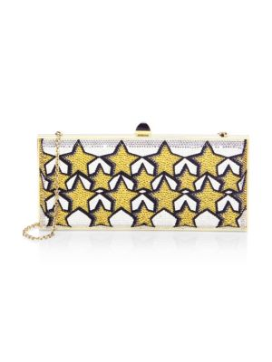 Stars Large Coffered Crystal Clutch Bag in Yellow