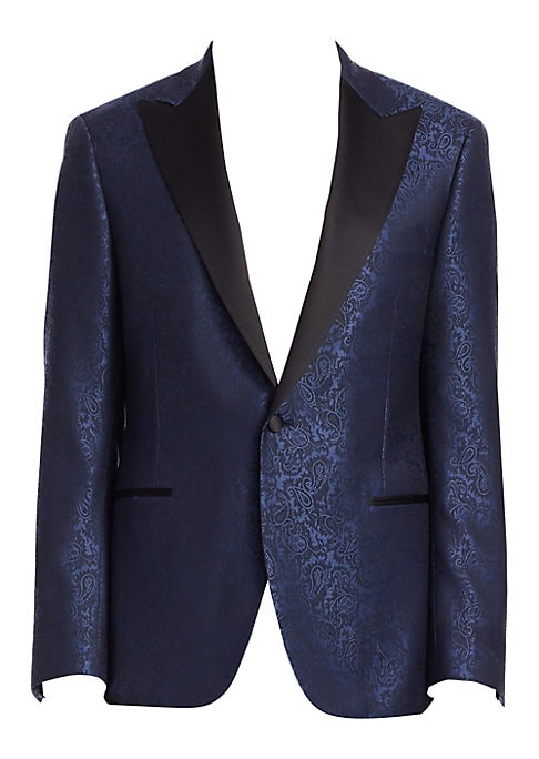 Image of From the Saks IT LIST. THE JACKET. The wear everywhere layer that instantly dresses you up. EXCLUSIVELY OURS. Formal paisley jacquard jacket with contrast lapels. Notch lapels. Long sleeves. Button front. Button cuffs. Chest welt pocket. Waist welt pocket