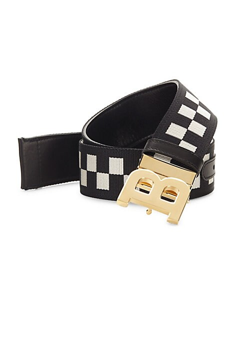 "Image of Bold hardware punctuates checkered belt. Leather. Goldtone hardware. Width, 1.5"".Made in Italy."