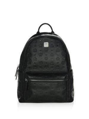 MCM Ottomar Men'S Logo-Embossed Leather Backpack, Black