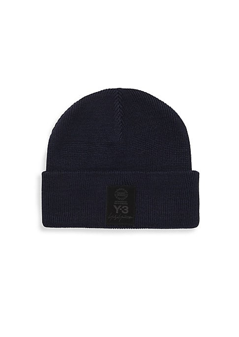 Image of Logo patch fronts essential knit beanie. Cotton/polyester. Imported.
