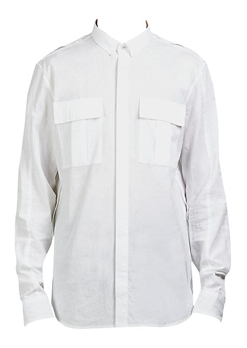 """Image of Cotton casual button-down shirt with button detail on side. Point collar. Long sleeves. Buttoned barrel cuffs. Button front. Chest flap patch pockets. Shirttail hem. About 27"""" from shoulder to hem. Cotton. Machine wash. Made in Italy."""