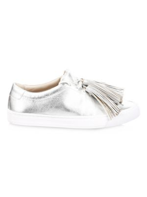 Logan Leather Tassel Sneakers in Silver