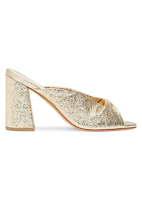 """Image of Metallic leather mules with twisted detail on vamp. Leather block heel, 3.5"""" (90mm).Leather upper. Leather trim. Peep toe. Slip-on style. Leather lining and sole. Imported."""
