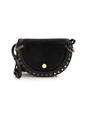 See By Chloekriss Small Suede And Leather Crossbody, Black
