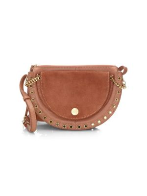 Kriss Small Eyelet-Embellished Textured-Leather And Suede Shoulder Bag, Cheek