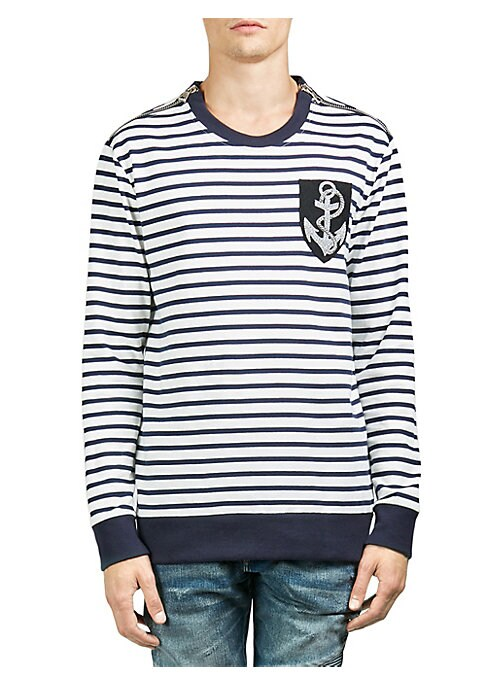 """Image of Soft cotton sweatshirt with allover contrasting stripes. Crewneck. Zip-up shoulders. Long sleeves. Rib-knit at neck, cuffs, and hem. Logo patch at left chest. About 26"""" from shoulder to hem. Cotton. Machine wash. Imported."""