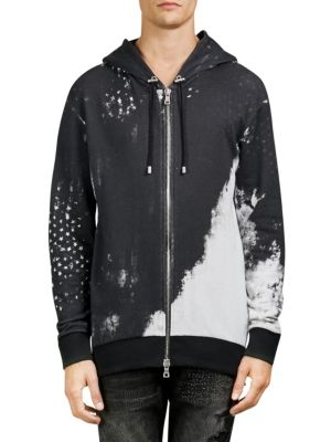 Graphic-Print Cotton Hooded Jacket in Black