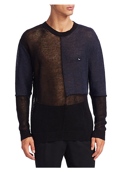 """Image of Cotton-blend sweater finished with see-through design. Crewneck. Long sleeves. Rib-knit at neck, cuffs and hem. About 28"""" from shoulder to hem. Cotton/elastane. Hand wash. Imported."""