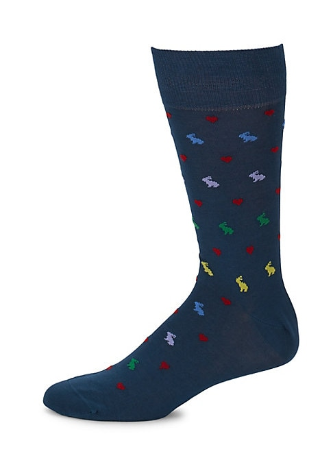 Image of Comfortable socks with an allover contrasting pattern. Mid-calf height. Cotton/polyamide. Machine wash. Made in Italy.