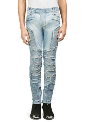 Distressed Skinny Light-Wash Moto Jeans, Blue