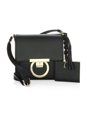 Gancio Lock Leather Crossbody Bag - Black, Nero