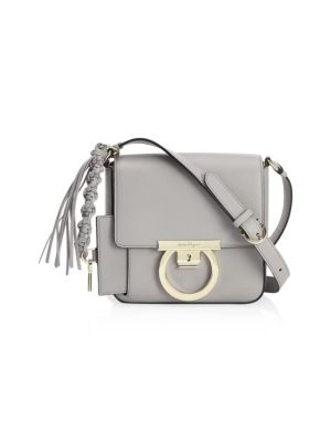 0c673d0c0d94 Salvatore Ferragamo Small Leather Lock Crossbody Bag In Light Gray ...