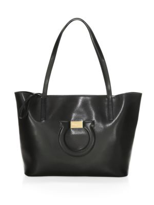 City Quilted Gancio Leather Tote - Black, Nero
