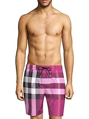 f086c84057244 Burberry - Guildes Check Swim Trunks - saks.com
