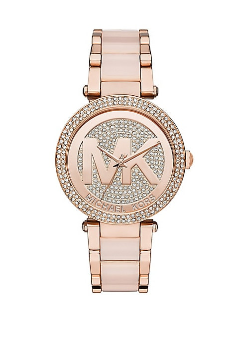 "Image of .From the Parker Collection. .Signature pave style with a durable acetate-centered bracelet. .Quartz movement. .Water resistant to 10 ATM. .Round rose gold stainless steel case, 39mm (1.5""). .Pave bezel. .Pave rose goldtone dial. .Second hand. .Stainless"