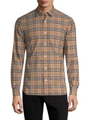 BURBERRY Alexander Check Light Cotton Twill Shirt, Camel
