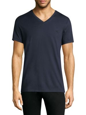 BURBERRY Logo-Embroidered V-Neck Cotton-Jersey T-Shirt in Blue