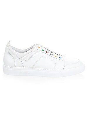 Image of Cracked leather low-tops with multicolor eyelets Leather upper Lace-up vamp Round toe Leather lining Rubber sole Made in Italy. Men's Shoes - Contemporary Lifestyle > Saks Fifth Avenue. Del Toro. Color: White. Size: 10.