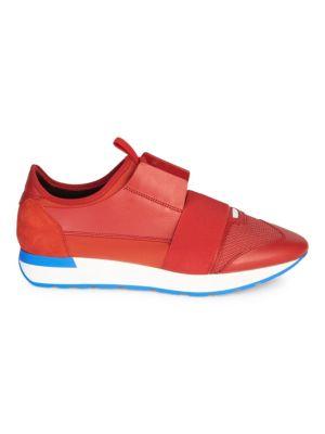 BALENCIAGA Men'S Reflective Race Runner Mesh & Leather Sneakers, Gray, Rouge
