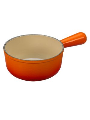 Image of The cast iron open sauce pot is perfect for making barbecue sauces or glazes directly on the grill. And because it's crafted of cast iron, the pan will keep contents warm throughout mealtime. Colorful, long-lasting exterior enamel. Sand-colored engineered