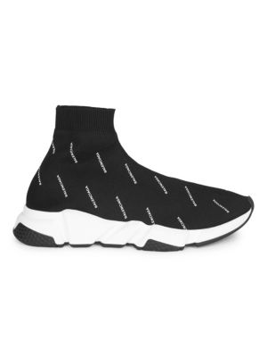 Men'S Speed Signature Mid-Top Trainer Sock Sneakers, Black White