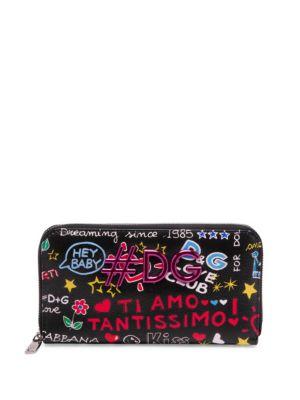 Dolce And Gabbana Black Graffiti Print Zip Around Wallet, Mura Print
