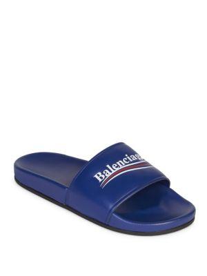 BALENCIAGA Political Logo Rubber Slide Sandals, Blue