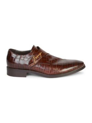 BALENCIAGA Croc-Embossed Leather Monk Strap Shoes, Chocolate