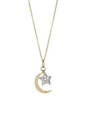 d8924ea6f5105 14K Gold Diamond Moon & Star Pendant Necklace