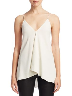 Coastal Silky Crossover Tank Top in White