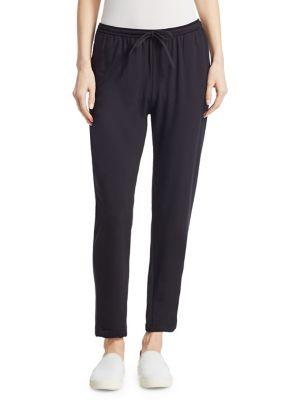 MAJESTIC Straight Drawstring Pants in Black