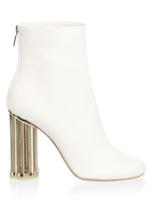 Women'S Coriano Leather Floral Heel Booties, White
