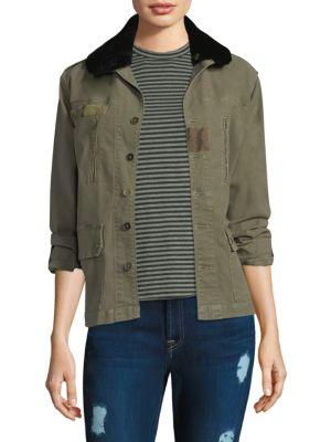 SANDRINE ROSE Vetifler Shearling Collar Combat Jacket in Army Green