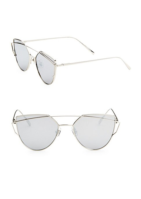 Image of Cat eye sunglasses accented with slim temples.55mm lens width; 139mm temple length.100% UV protection. Adjustable rubber nose pad pads. Tinted lenses. Case and cleaning cloth included. Titanium. Imported.