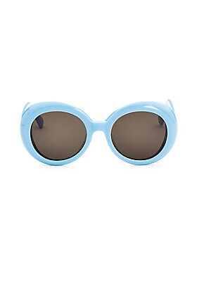 Image of Round retro inspired tinted sunglasses 100% UV protection 52mm lens width; 149mm temple length Saddle nose bridge Tinted lenses Case and cleaning cloth included Acetate Imported. Soft Accessorie - Sunglasses. Gentle Monster. Color: Blue.