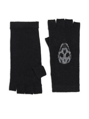 360cashmere Xena Skull Cashmere Metallic Gloves
