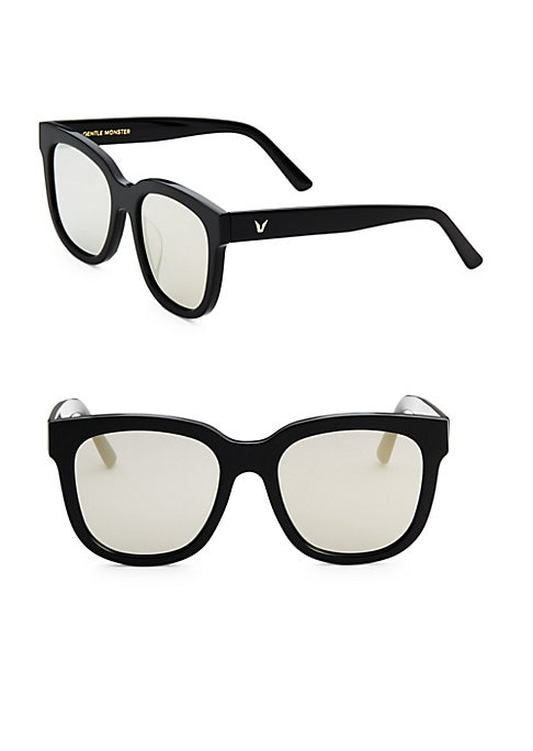 Image of Fashionable retro-inspired square sunglasses.54mm lens width; 150mm temple length.100% UV protection. Tinted lenses. Saddle nose bridge. Case and cleaning cloth included. Plastic. Imported.