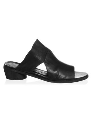 LD TUTTLE Peep Toe Leather Mules in Black