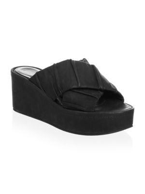 LD TUTTLE Crossover Leather Slides in Black