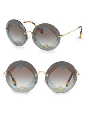 62Mm Layered Heart Round Sunglasses - Lite Blue Gradient, Light Blue