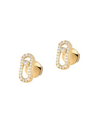Move Classic 18 K Yellow Gold & Diamond Stud Earrings by Messika