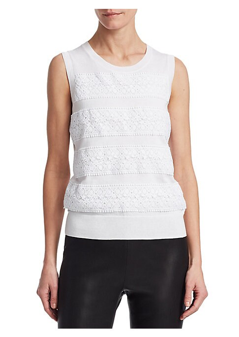 """Image of EXCLUSIVELY OURS. Cozy cotton-blend top with lace insert details. Rib-knit crewneck. Sleeveless. Rib-knit hem. About 23"""" from shoulder to hem. Cotton/silk/cashmere. Dry clean. Imported. Model shown is 5'10"""" (177cm) wearing a size Small."""