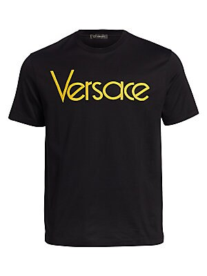 "Image of Comfy cotton tee finished with logo detail Crewneck Short sleeves Pullover style About 28"" from shoulder to hem Cotton Machine wash Made in Italy. Men Modrn Dsgn - Versace. Versace. Color: Rose White. Size: XL."
