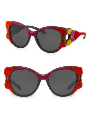 627693bb7b Prada Butterfly Sunglasses W  Velvet Detail In Fuchsia Multi Grey ...