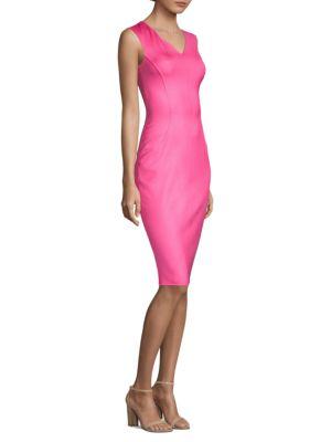 V-Neck Sleeveless Silk Crepe Sheath Dress, Carnation