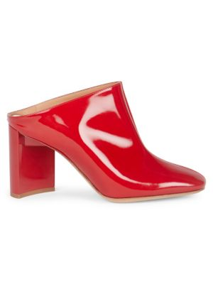 Patent Leather Mules, Red